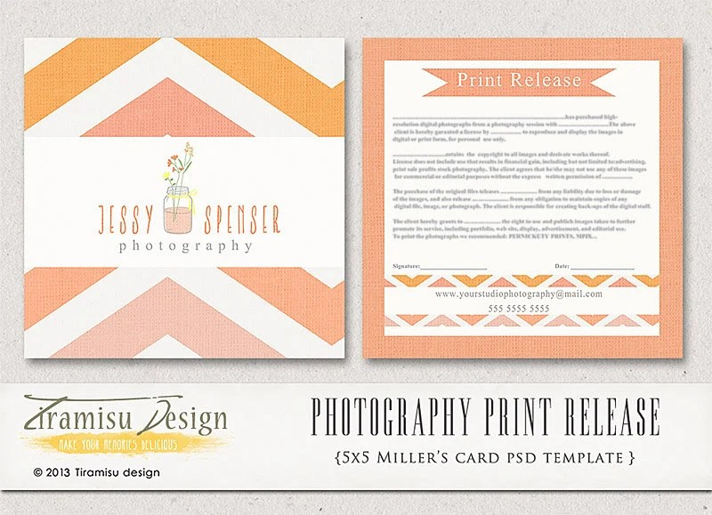 Photography Print Release 5x5 Template INSTANT DOWNLOAD - print release form
