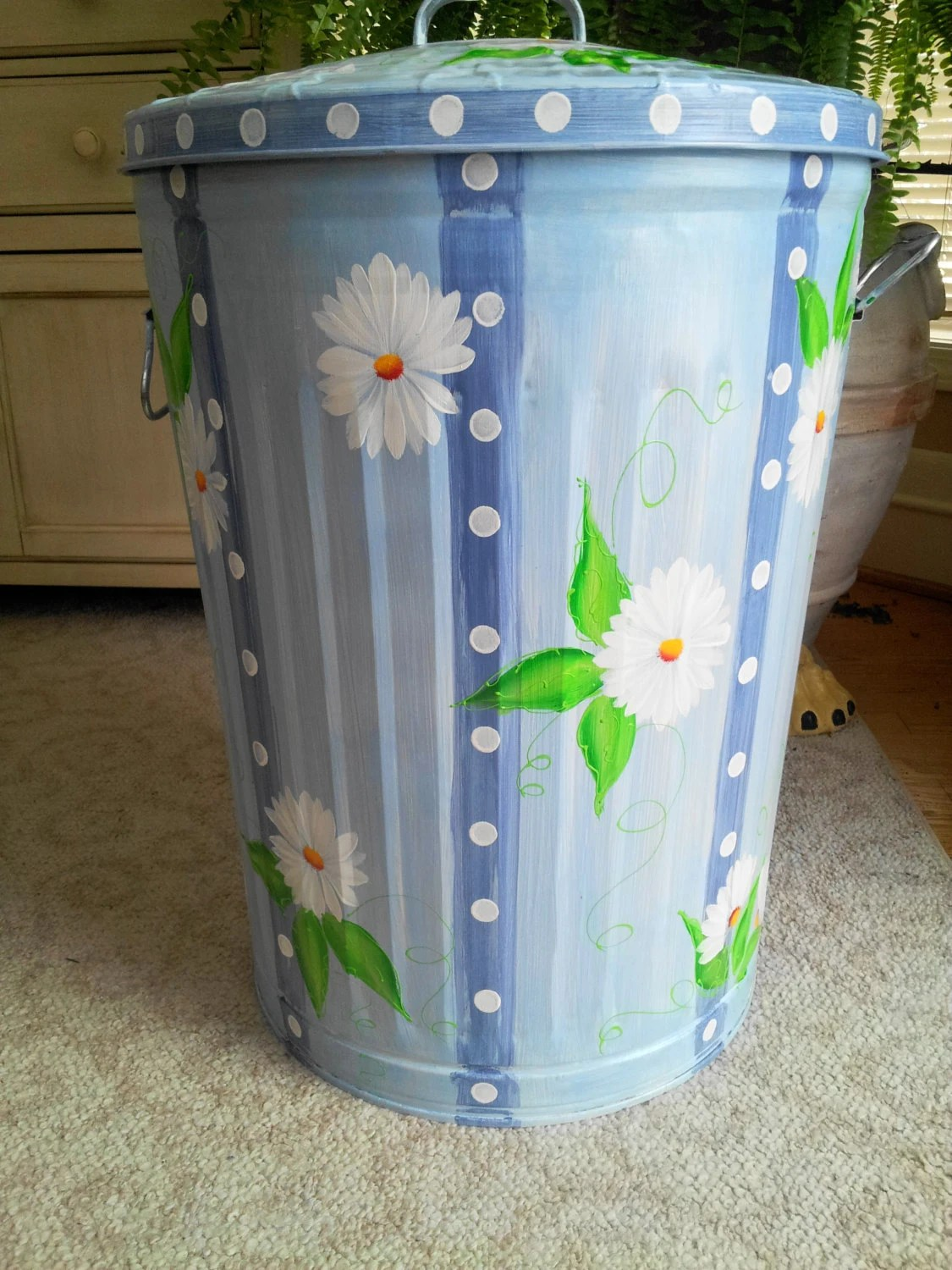 Pretty Kitchen Trash Cans Hand Painted Galvanized Metal 20 Gallon