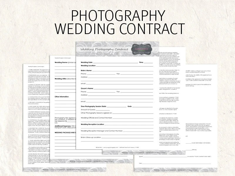 Wedding Photography contract business forms flowers editable - wedding contract template