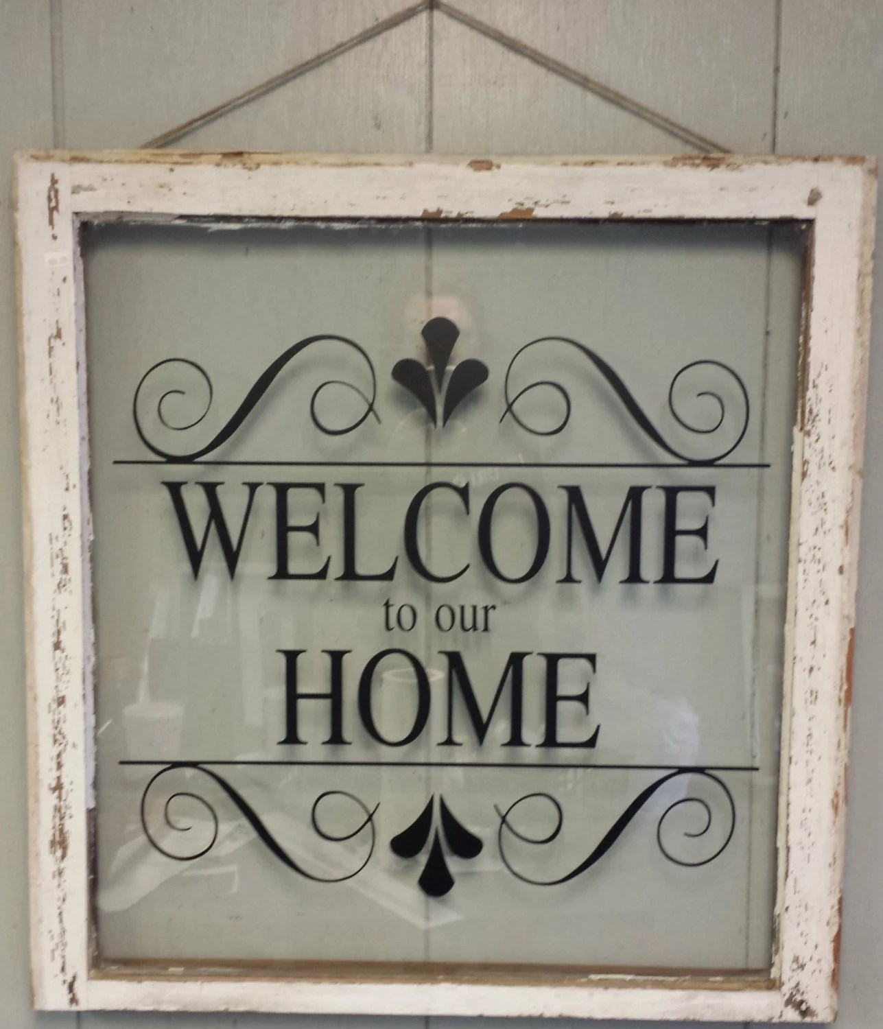 Vintage Single Pane Window Personalized Welcome to our