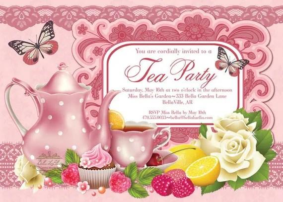 Tea Party Invitation Bridal Tea Party Garden Tea Party - tea party invitation