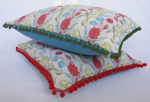Vintage Fabric Cushion With Woven Floral Stripe