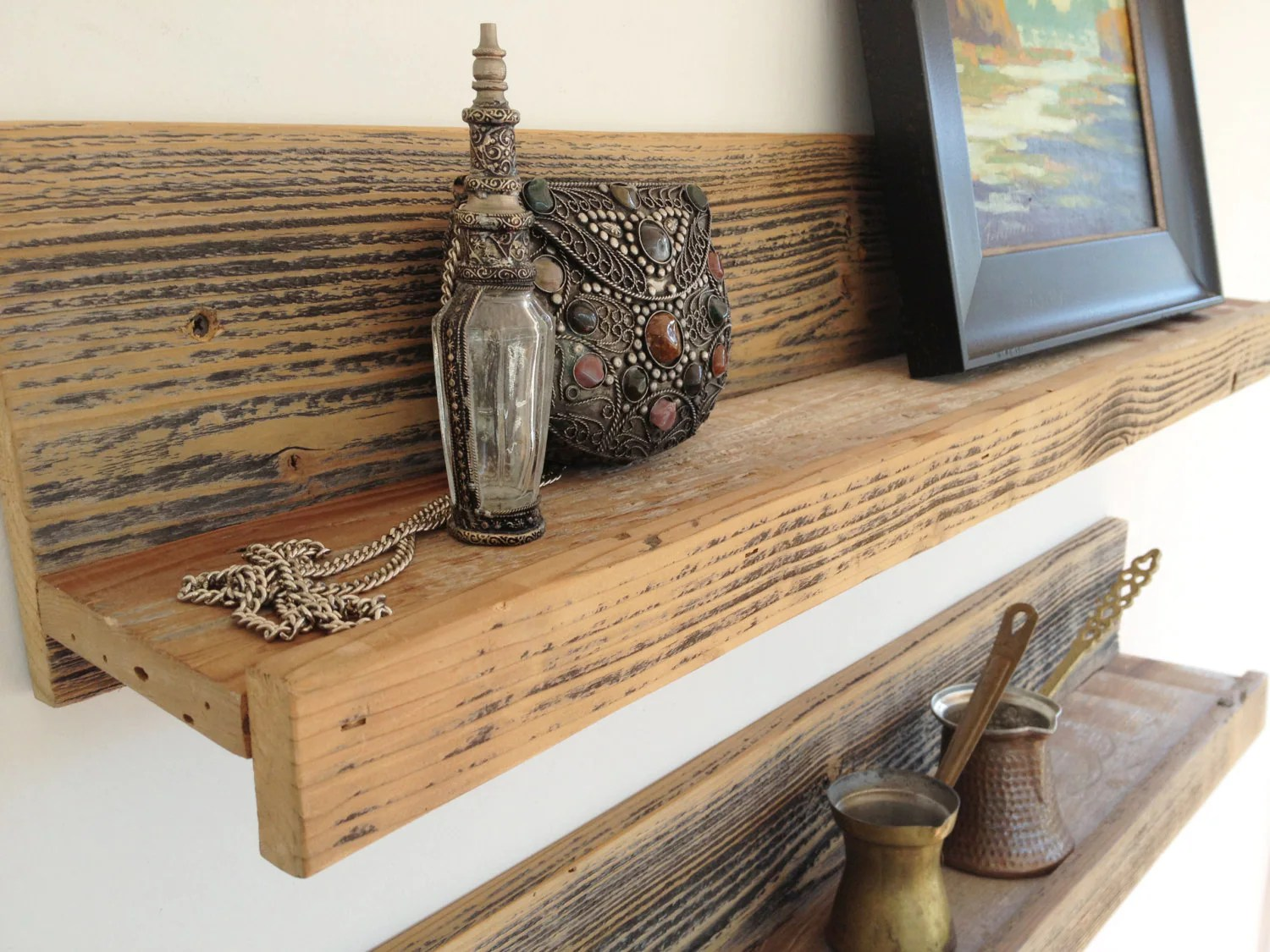 24 Inch Rustic Reclaimed Wood Shelf For Home Studio Office