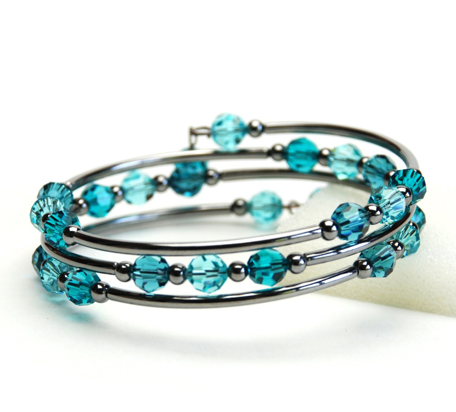 Teal Blue Memory Wire Bracelet Indicolite Blue Zircon Light