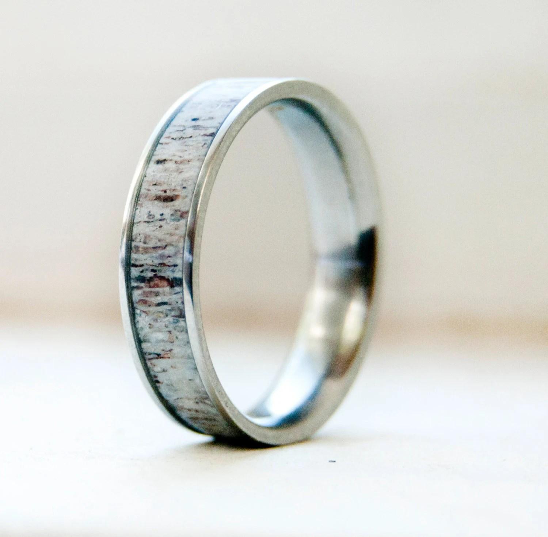 deer antler ring mens titanium wedding rings Mens Wedding Band w Antler Inlay Wedding Ring Staghead Designs