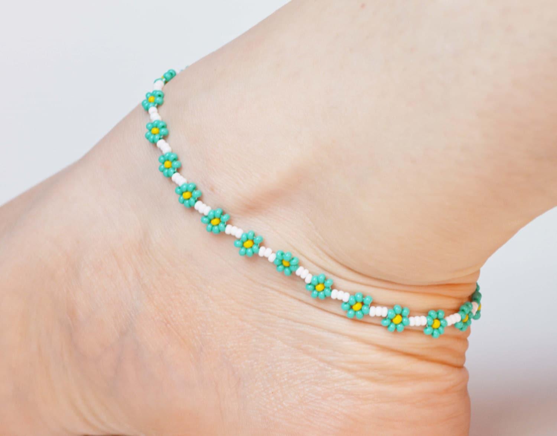 Flower Anklet Seed Bead Ankle Bracelet By Jewellerybyjora