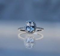 1.57ct Light gray blue color change oval sapphire diamond ring