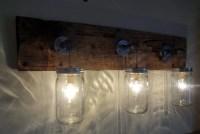 Mason Jar Hanging Light Fixture Rustic Reclaimed Barn Wood