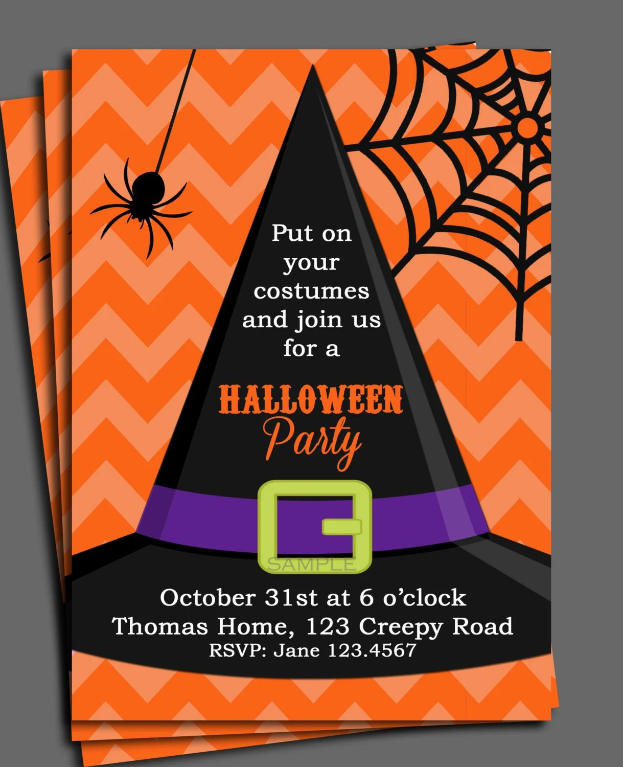 Halloween Invitation Printable or Printed with FREE SHIPPING-ANY - invitation for halloween party