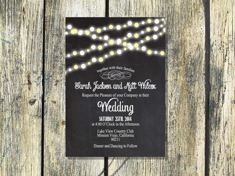 Printable Wedding Invitation Backyard By Foxycouturepapercuts
