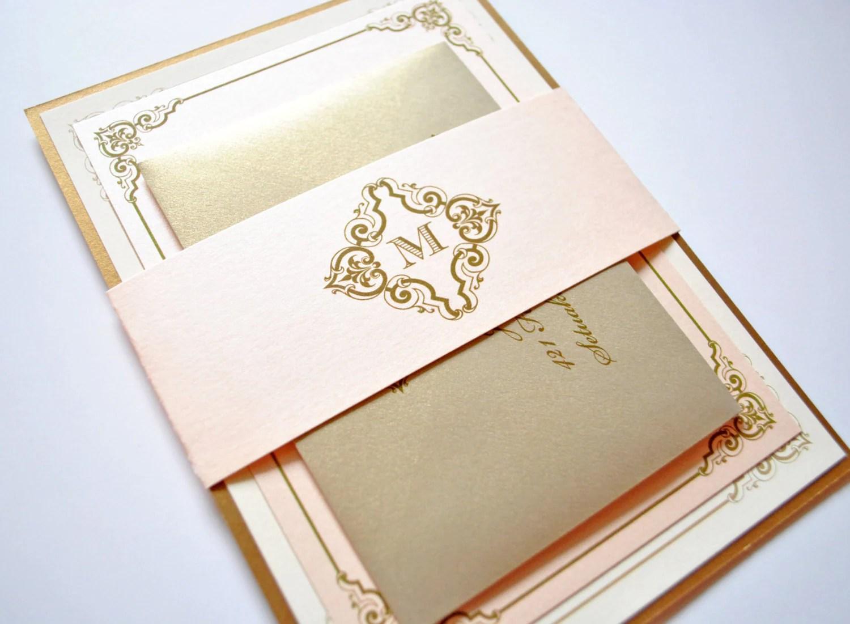 blush and gold wedding invitations etsy wedding invitations zoom