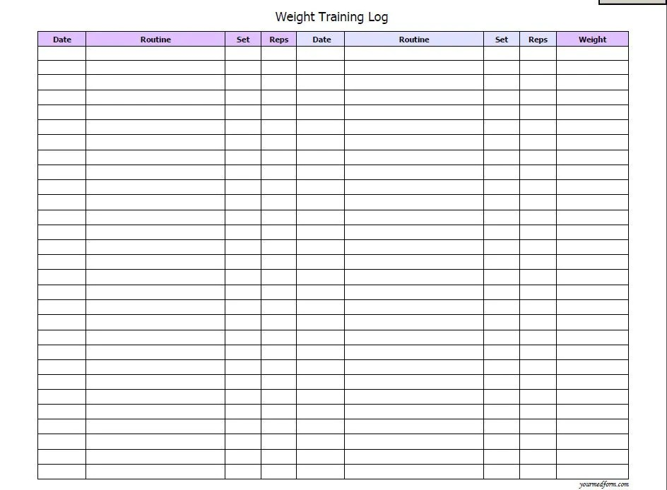 workout log template – Training Log Template