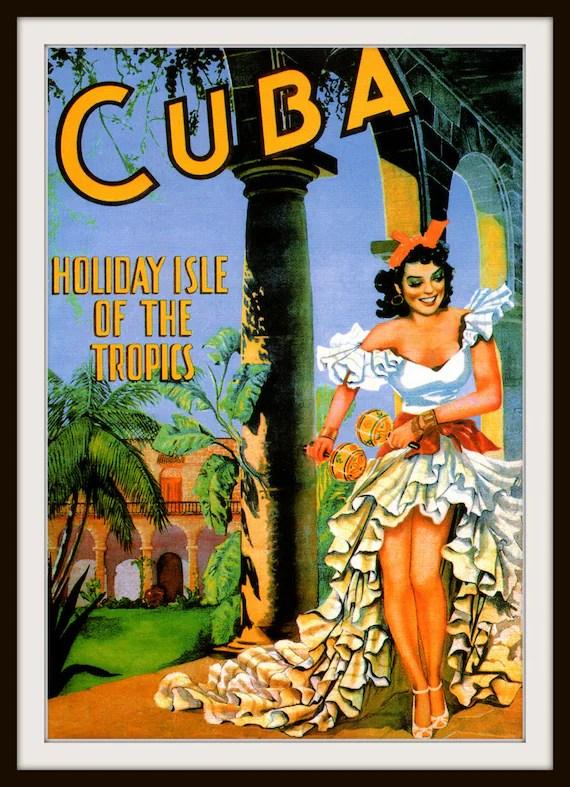 Pin Up Girl Art Vintage Wallpaper Giclee Print Cuba Dancing Woman Vintage Travel