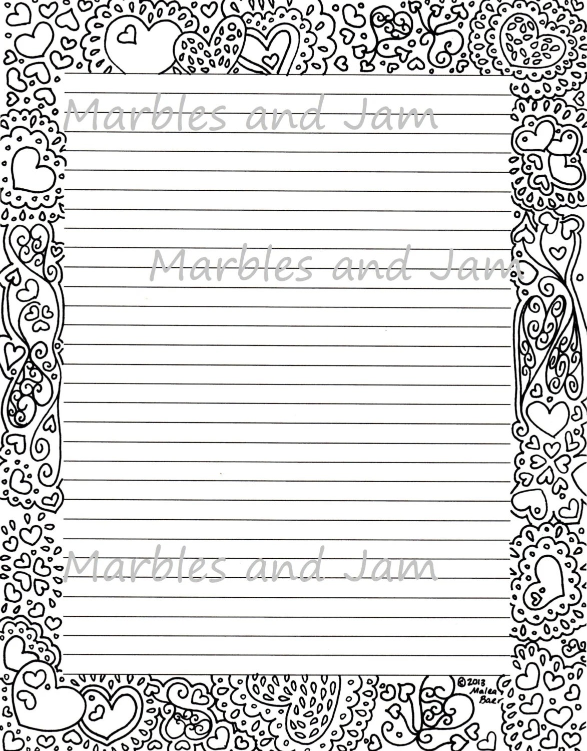 Hearts border lined printable stationery and coloring page - lined border paper