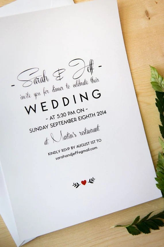 Items Similar To Wedding Invitation Package Simple And