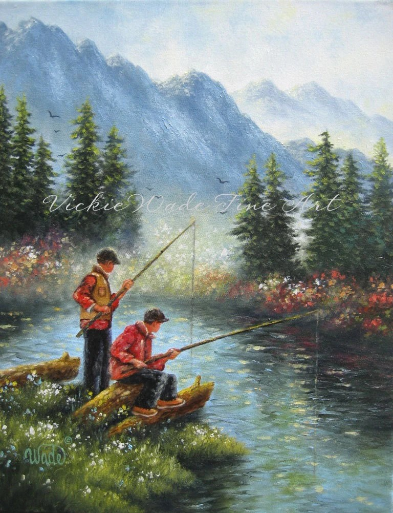 Fall Out Boy Christmas Wallpaper Two Brothers Fishing Original Oil Painting Two Boys Fishing