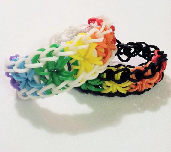 2 Rainbow Loom Starburst Bracelets By Vintythreads On Etsy