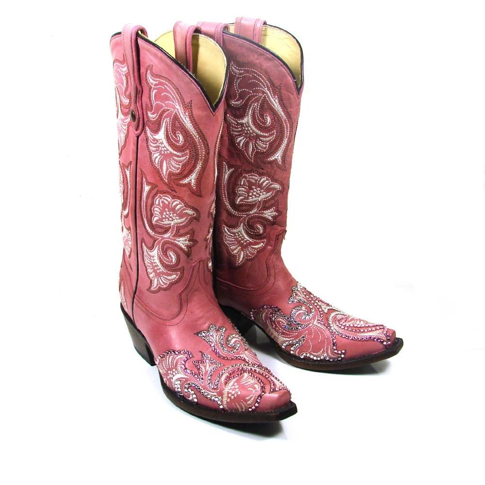 Swarovski Crystal Pink Floral Cowboy Boots