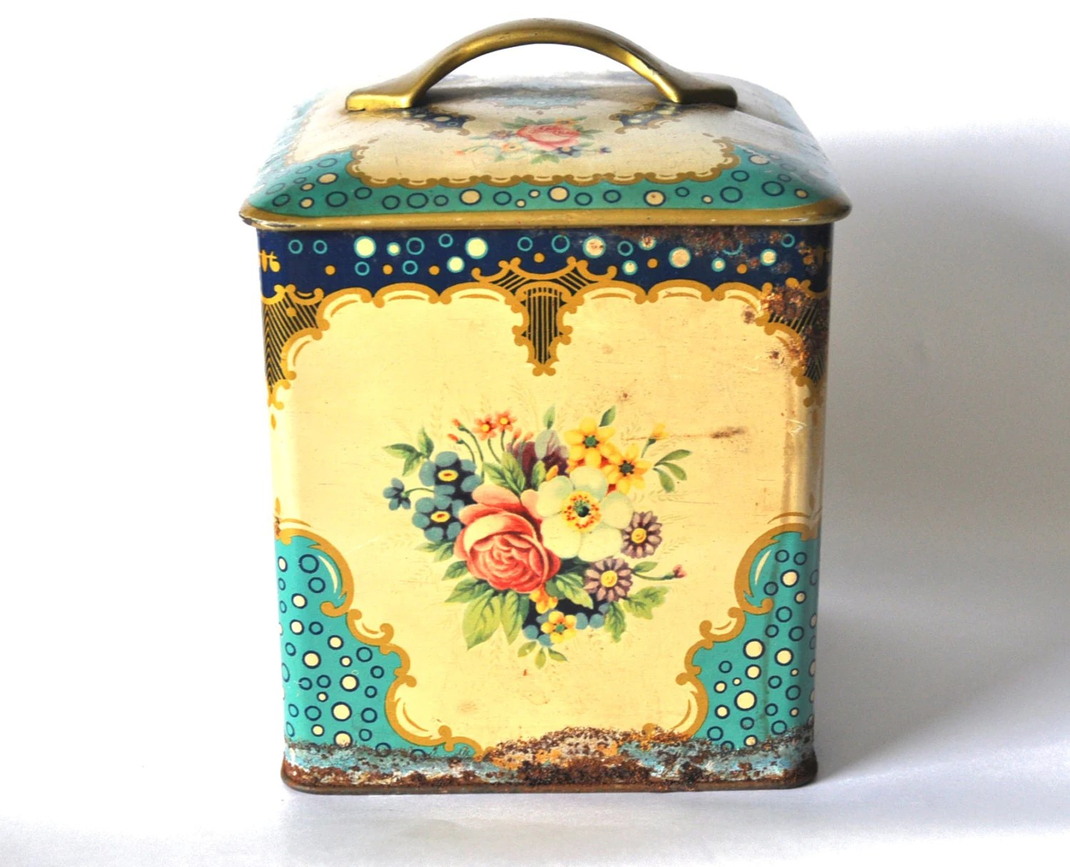 Decorative French Vintage Tin Box Floral Decor Turquoise