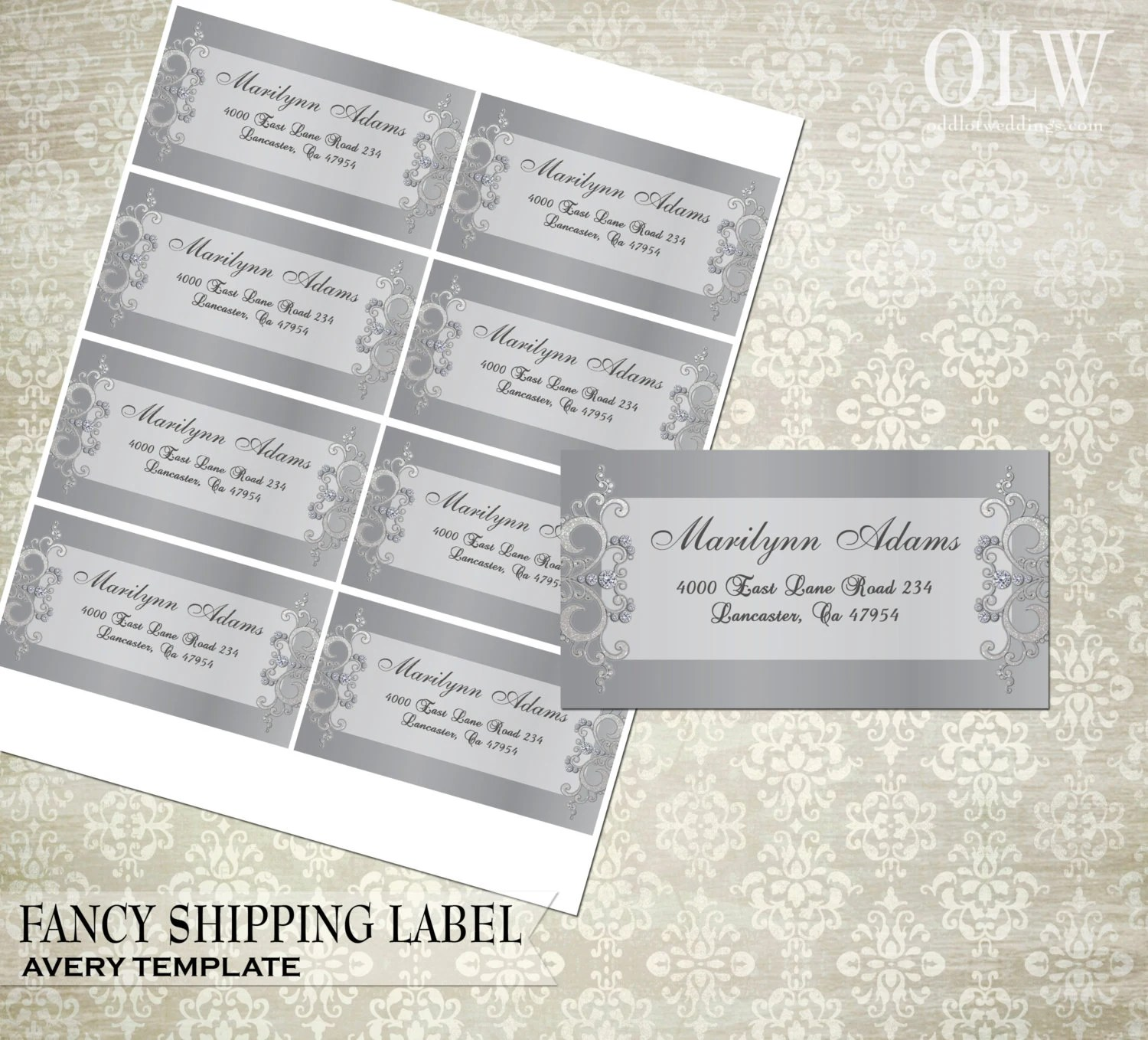 Fancy Gray Shipping Labels DIY Avery Labels for Printing - 2x4 label template