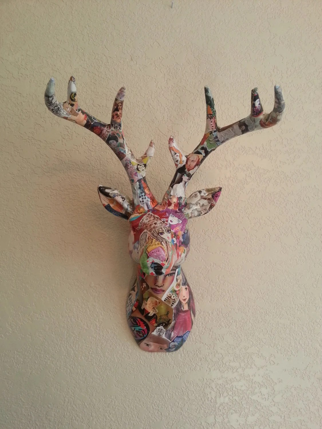 White Porcelain Deer Head Colorful Art Decoupage Ceramic Deer Head Faux Taxidermy Animal