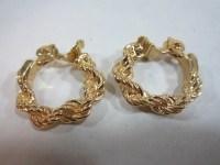 Vintage Monet Clip Earrings Braided Rope Hoop Earrings Clip On