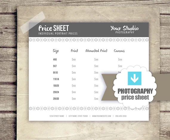 pricing sheet templates