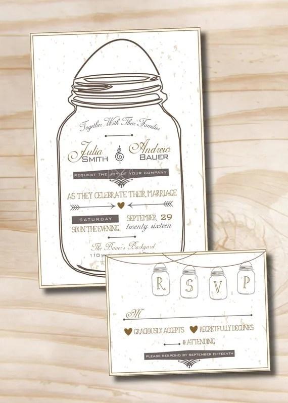 MASON JAR LOVE Wedding Invitation and Response Card Invitation