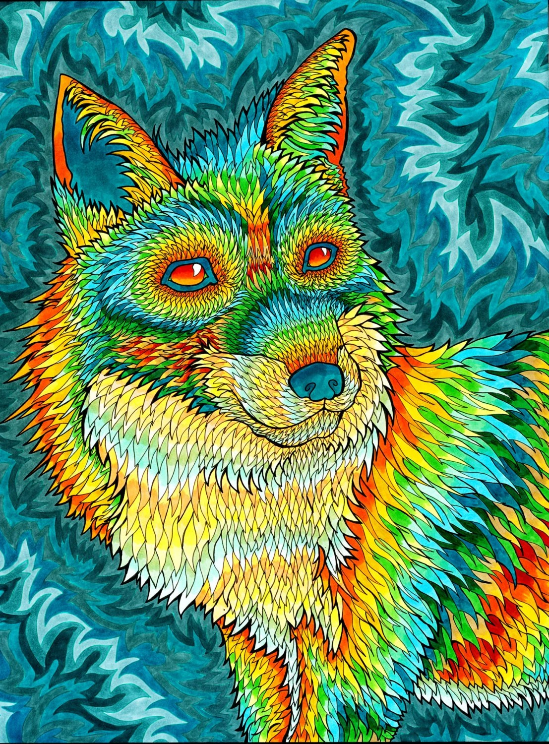 Trippy Animated Wallpapers Foxadelic Ii Print Psychedelic Spiritual Trippy Fox Drawing