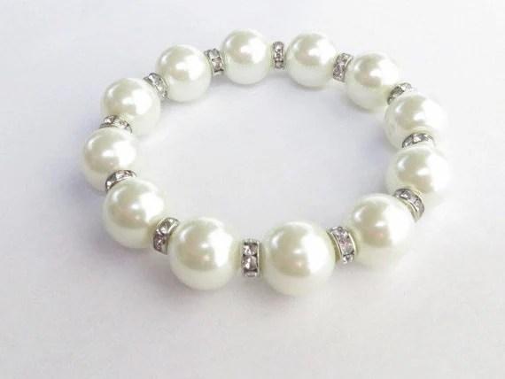 Large Pearl Bracelet Swarovski Crystal Stretch Bracelet