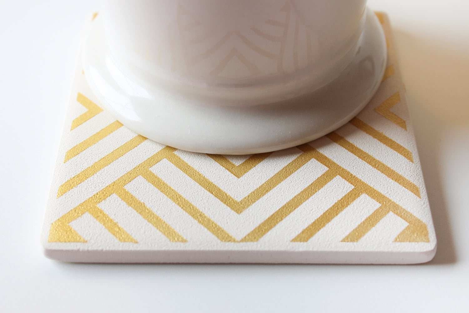 White And Gold Coasters Gold Striped Triangle Coasters Hand Painted White And Gold