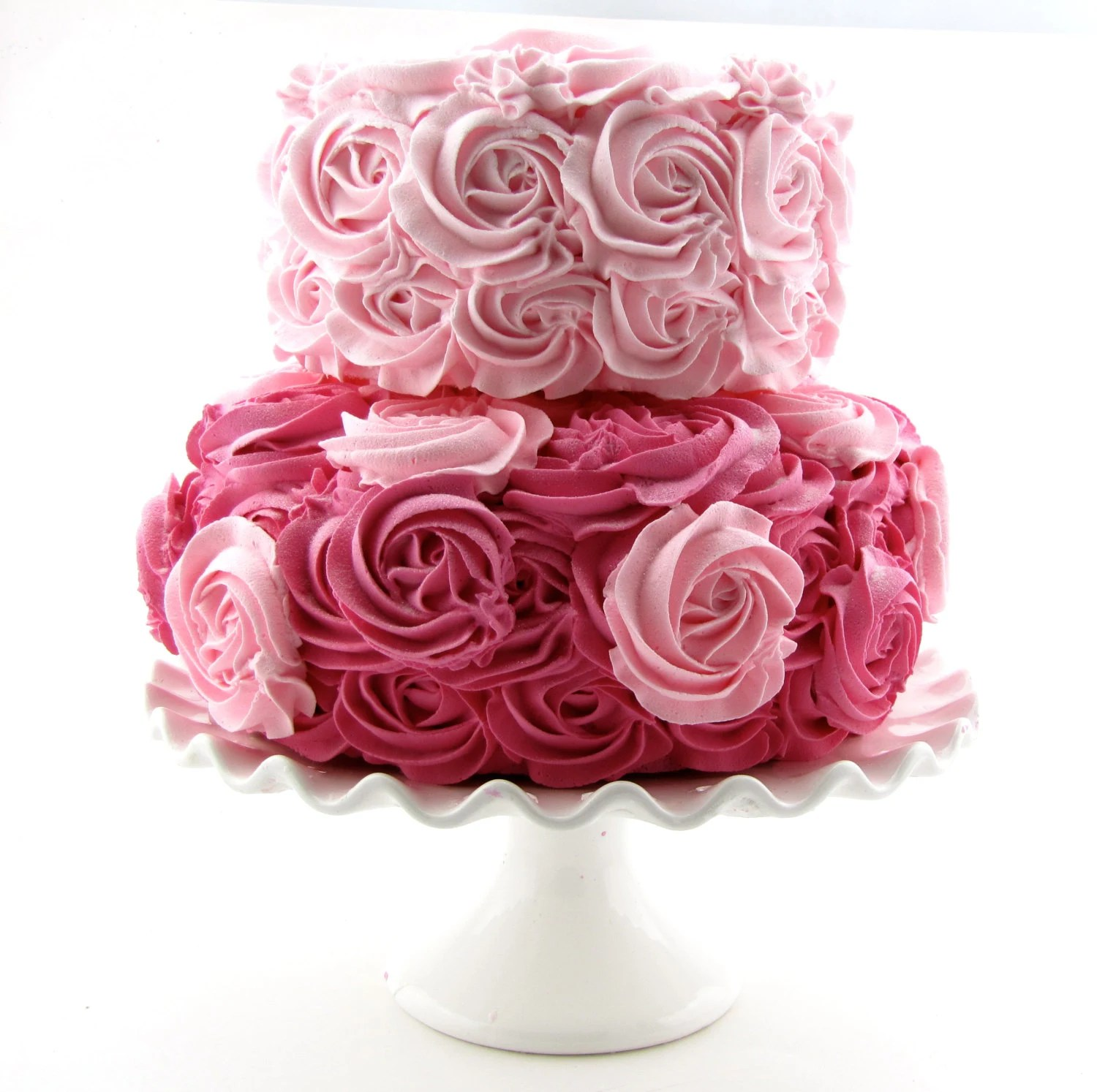 rosette fake cake fake wedding cakes Pink Hot Pink Rosette Fake Cake Stackable 2 Tier Cake Bottom Tier Approx 9 w 4 25 h Top Tier Approx 6 75 w 4 h Fab Photo Prop