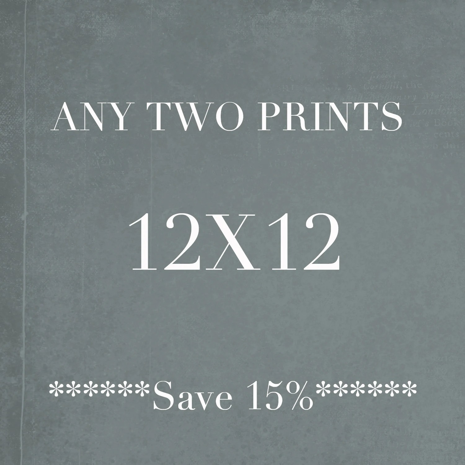 12x12 Poster Two 12x12 Prints Square Wall Art Discounted Print Set