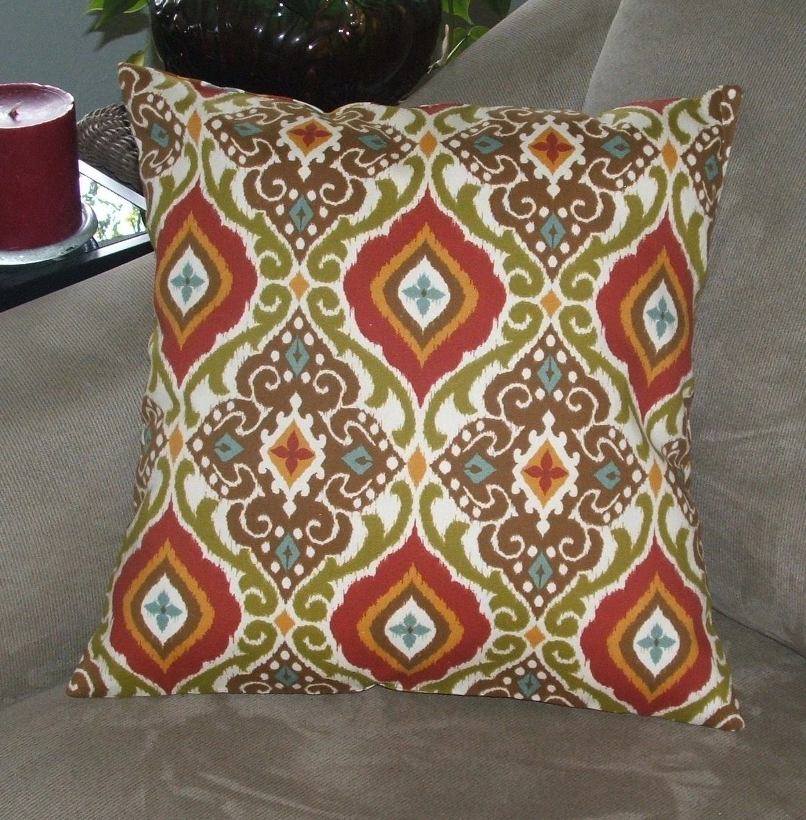 Red Mocha Brown And Cream Decorative Pillow Cover Throw