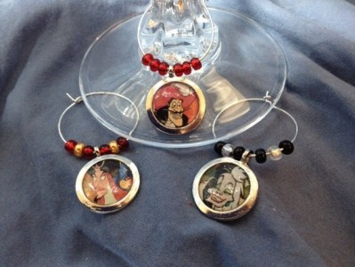 Disney Villians wine charms (6) on heavy gage, silver plated rings!