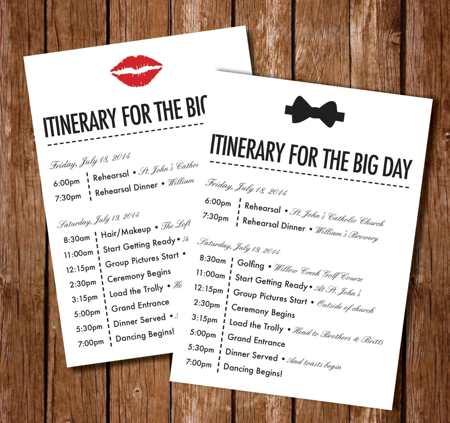 Printable Wedding Itinerary