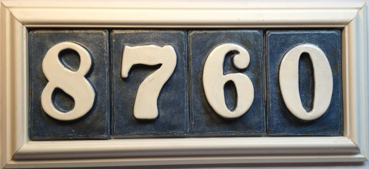Address Plaque Sign For House Numbers Handmade Ceramic Tiles