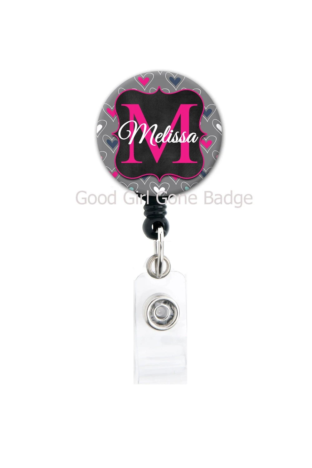 Retractable Id Badge Holder Personalized Name Grey Black