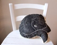 black cat pillow decorative cushion cat drawing shape gift