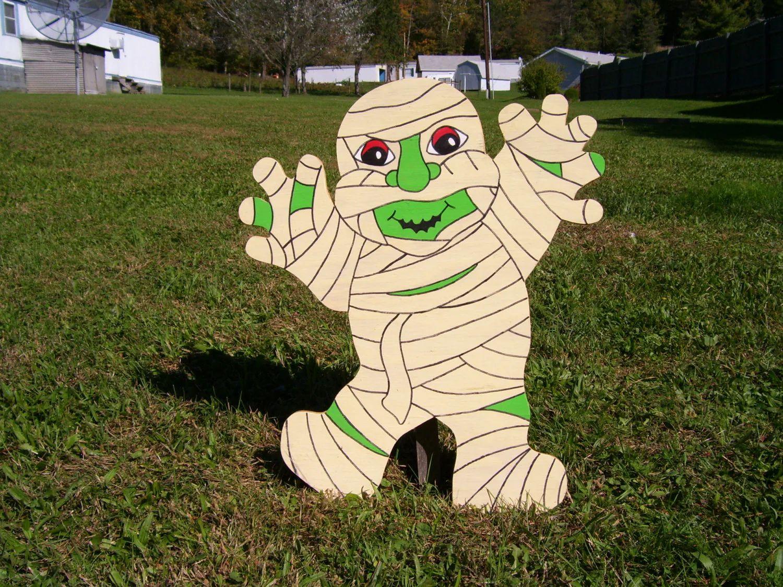 halloween mummy outdoor wood yard art lawn decoration zoom