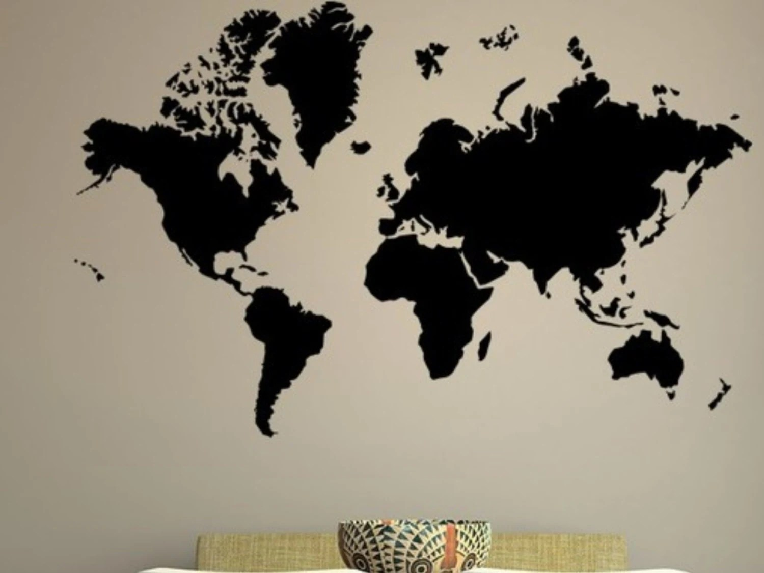 Funky Decor with Map of the World Wall Murals - best of world map for wall mural