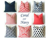 Navy Coral Euro Sham Pillow Covers 22 x 22 by ...
