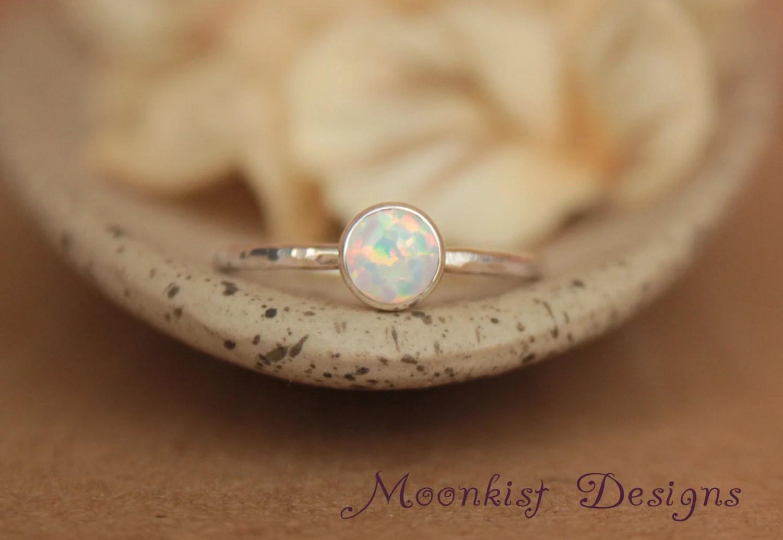 delicate opal engagement ring opal bezel opal wedding ring sets zoom