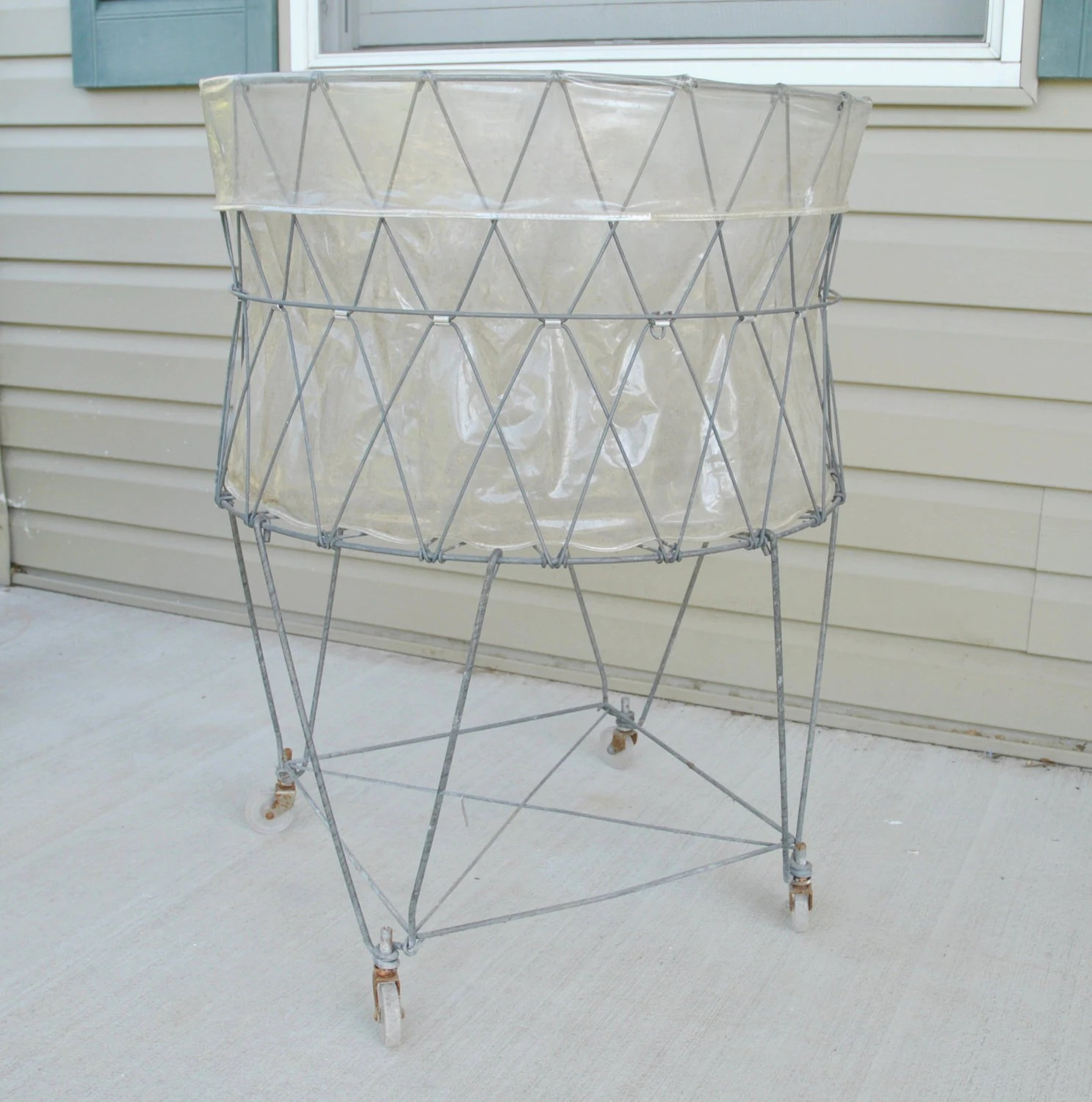 Wire Laundry Hamper On Wheels Vintage Allied Wire Collapsible Laundry Basket Cart On Wheels