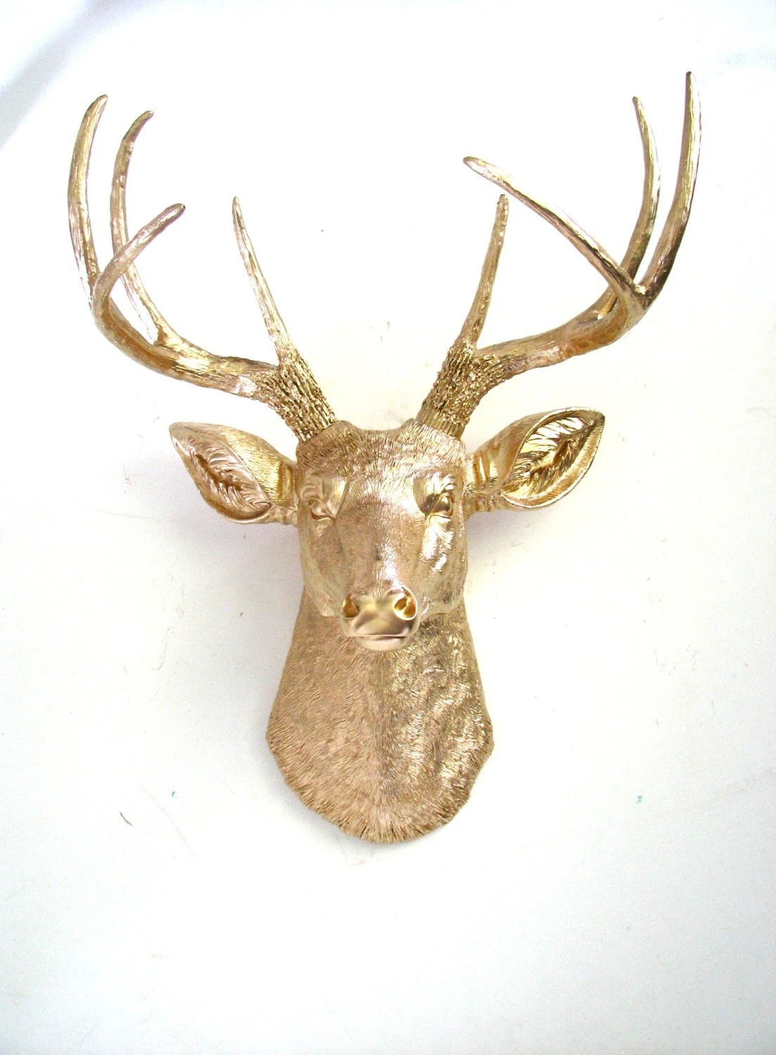 Faux Stag Head Gold Deer Head Faux Taxidermy Wall Hanging Wall Mount Mounted