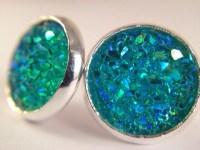 Teal Stud Earrings / Resin Earrings / Teal Blue Jewelry