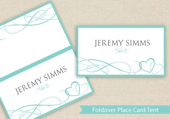 wedding table place cards template