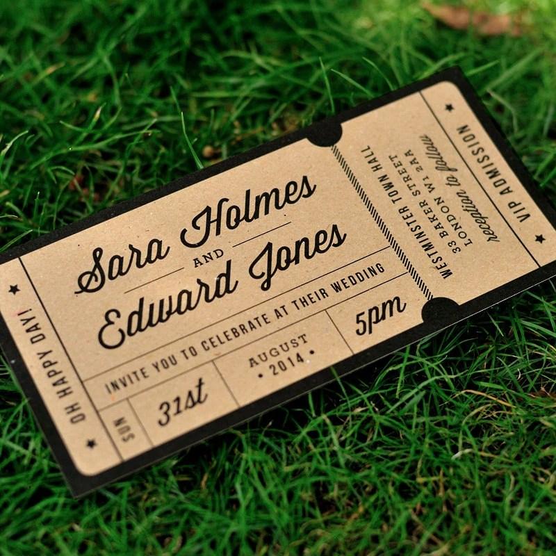 Rustic Recycled Ticket Wedding Invitation / \u0027Just the Ticket\u0027 Kraft - concert ticket invitations
