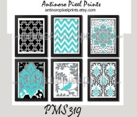 Items similar to Digital Print Wall Art Turquoise Black ...