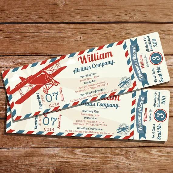 Airplane Ticket Invitation Boys Airplane Party Vintage - ticket invitation